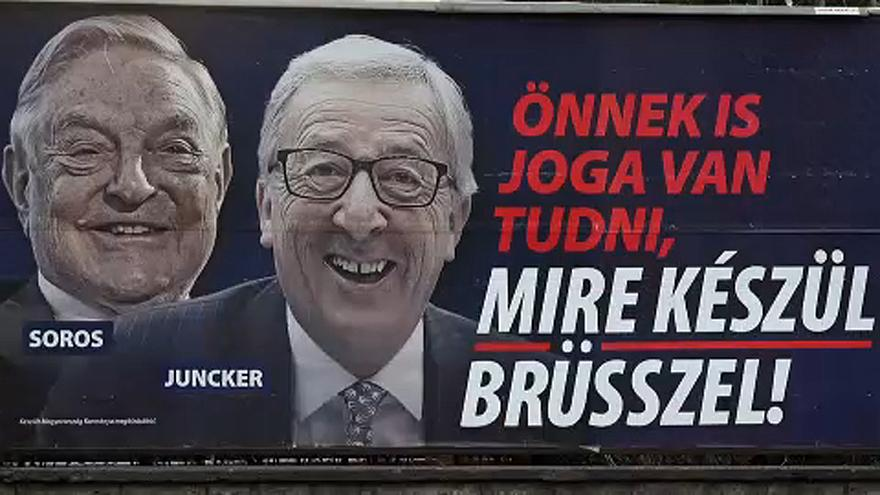 "A Hungarian government campaign accusing the European Commission of supporting illegal immigration is ""fake news"" - George Soros and Jean-Claude Juncker (President of the European Commission)"