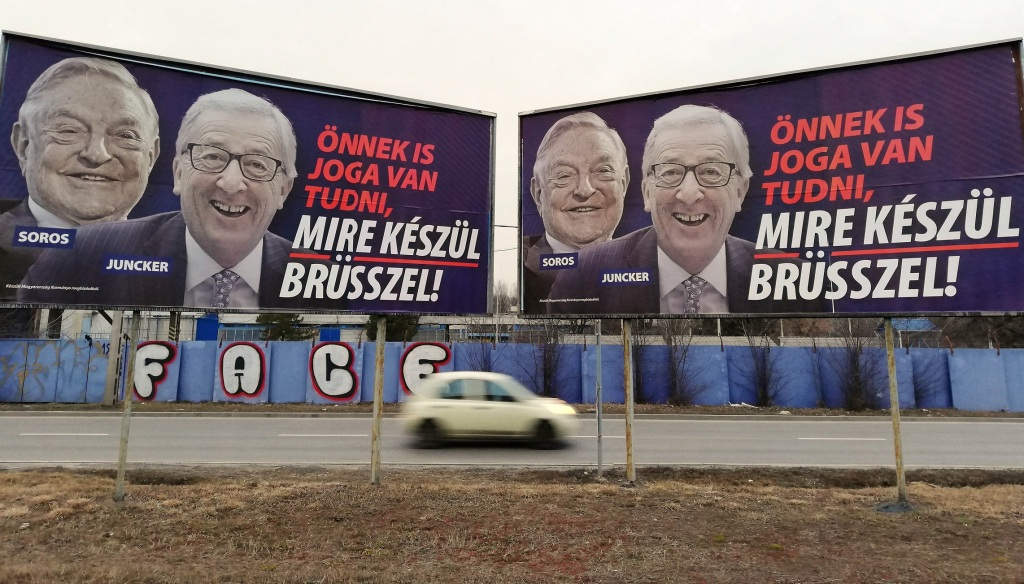 Soros-Juncker Posters (Photo: Alpár Kató – Daily News Hungary)
