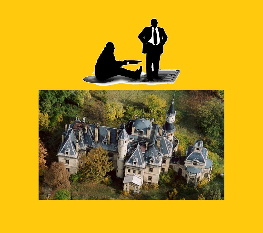 Sötétsárga háttérben a turai kastély, fölötte egy kéregető küldus és egy gazdag férfi árnyrajza.