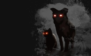 Sötétben világító szemű, gonosz kutyafélék.